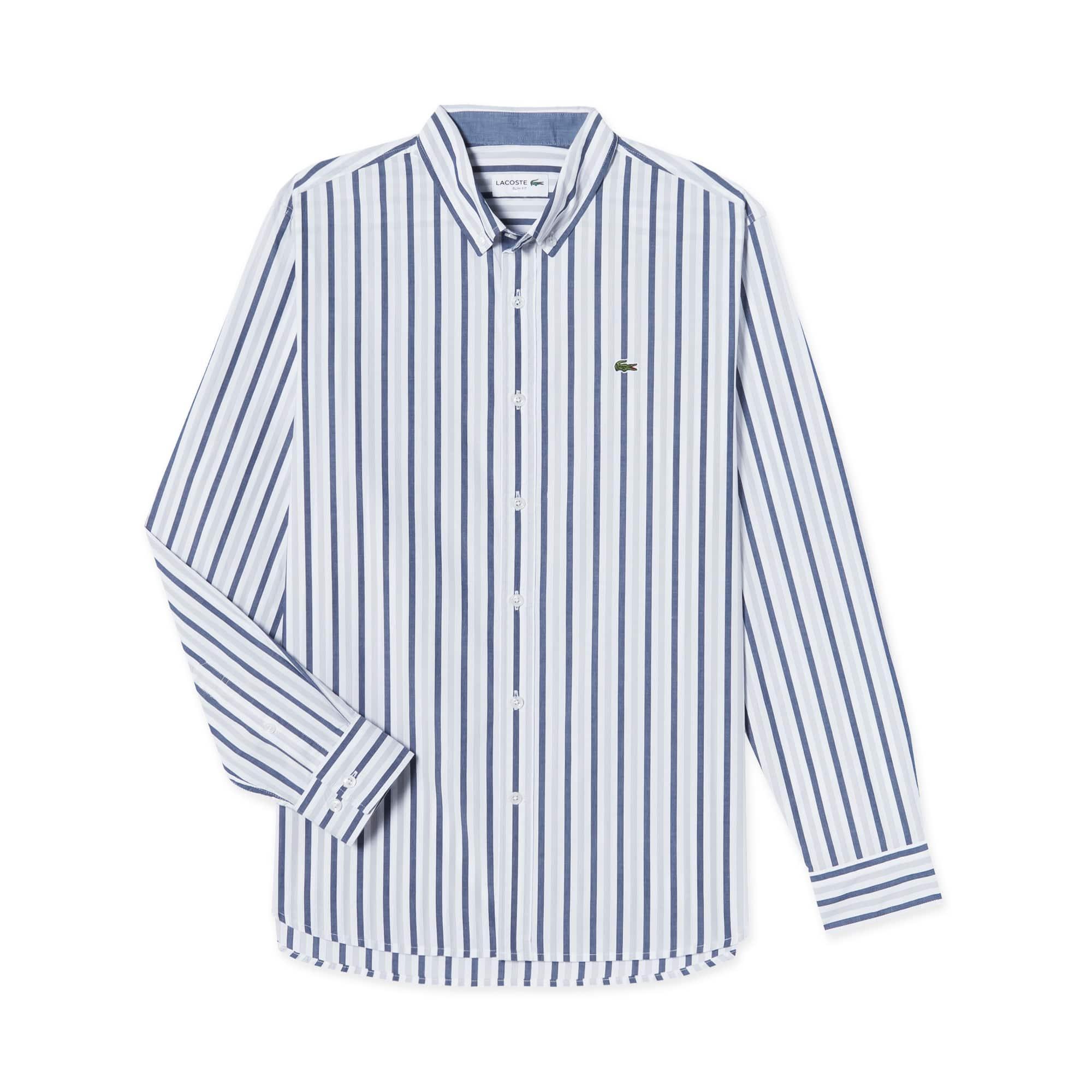 (남성) 포플린 세로 스트라이프 코튼 슬림 셔츠