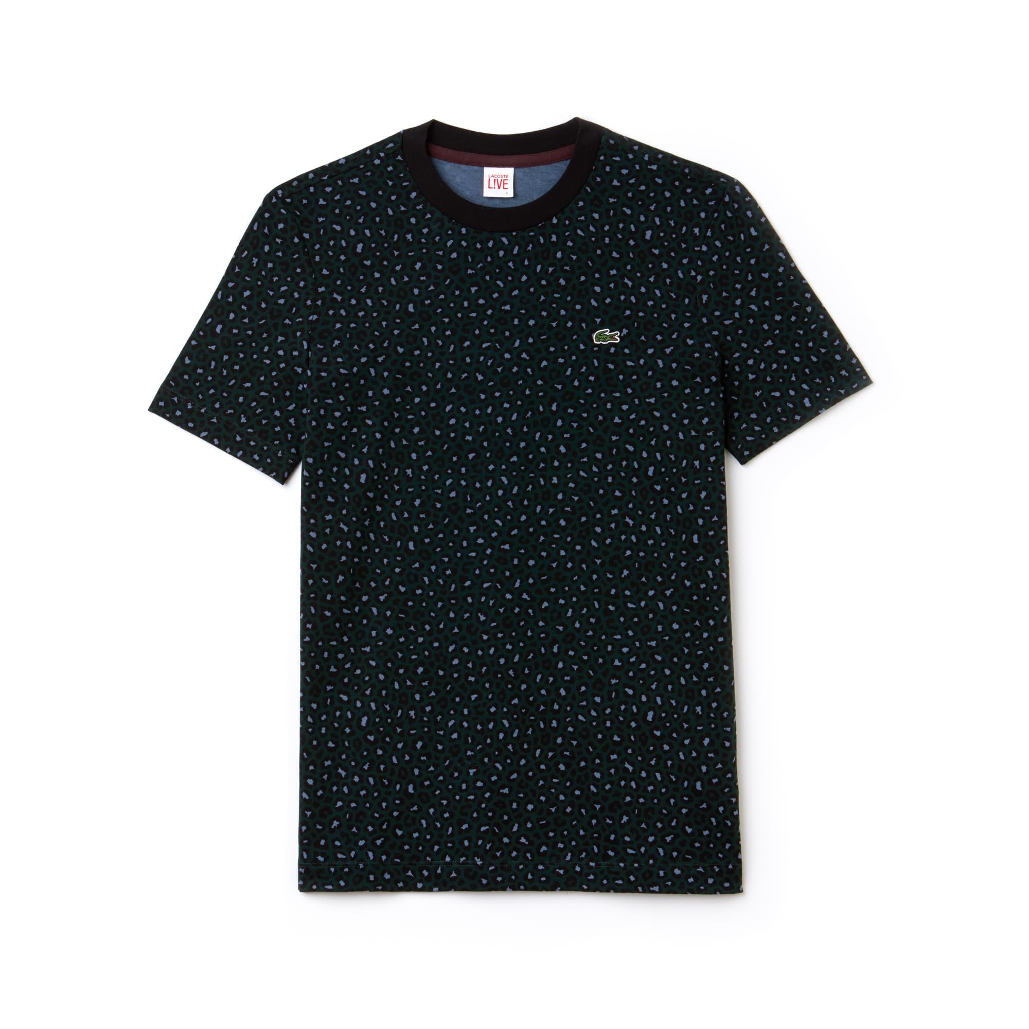 Lacoste LIVE系列豹纹印花平纹针织面料女士T恤