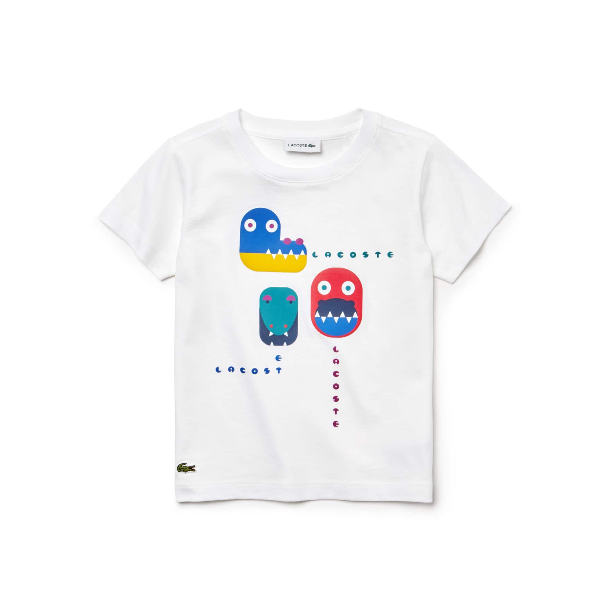 棉质平纹针织面料鳄鱼印花男童圆领T恤