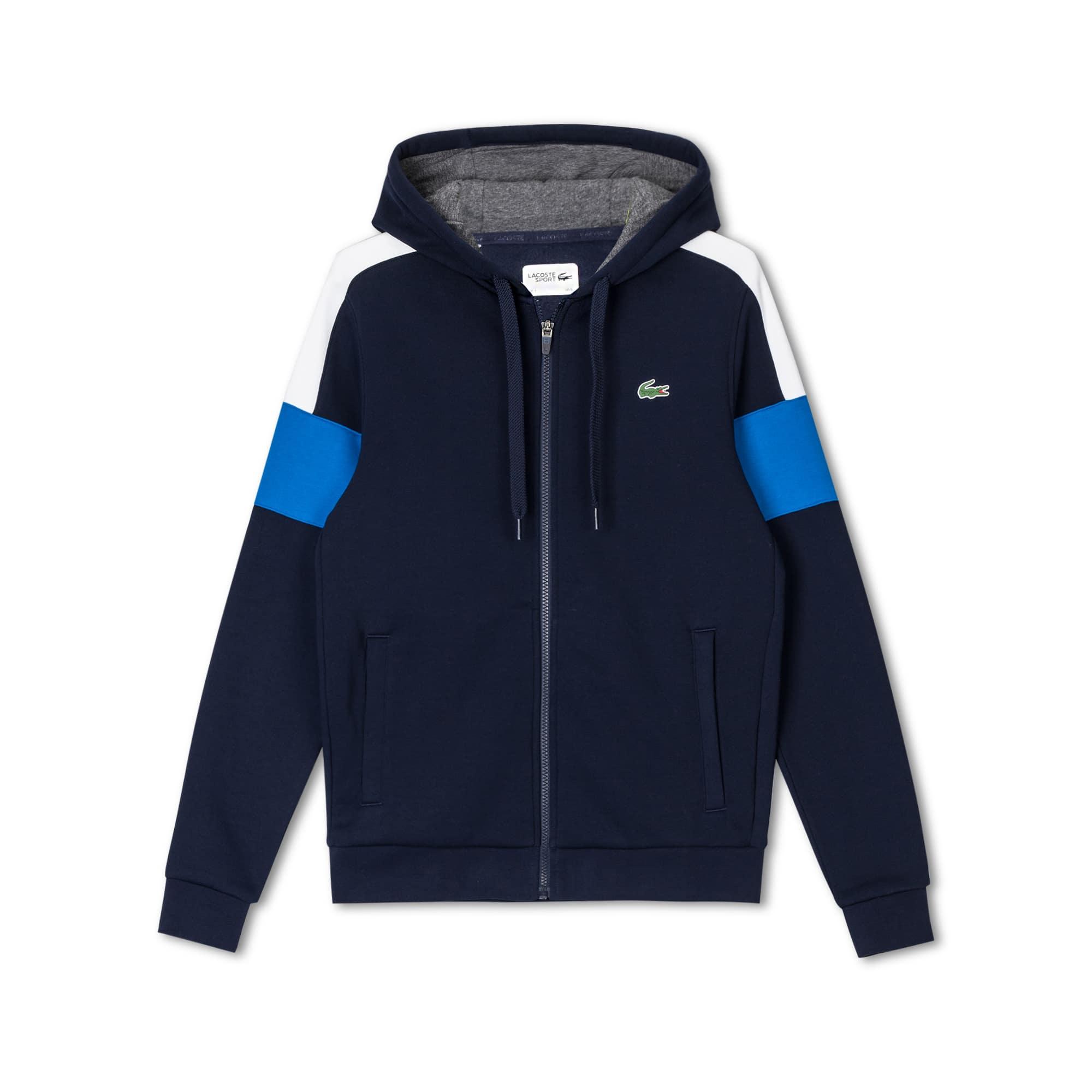 男士Lacoste SPORT拼色羊毛拉链式网球运动衫