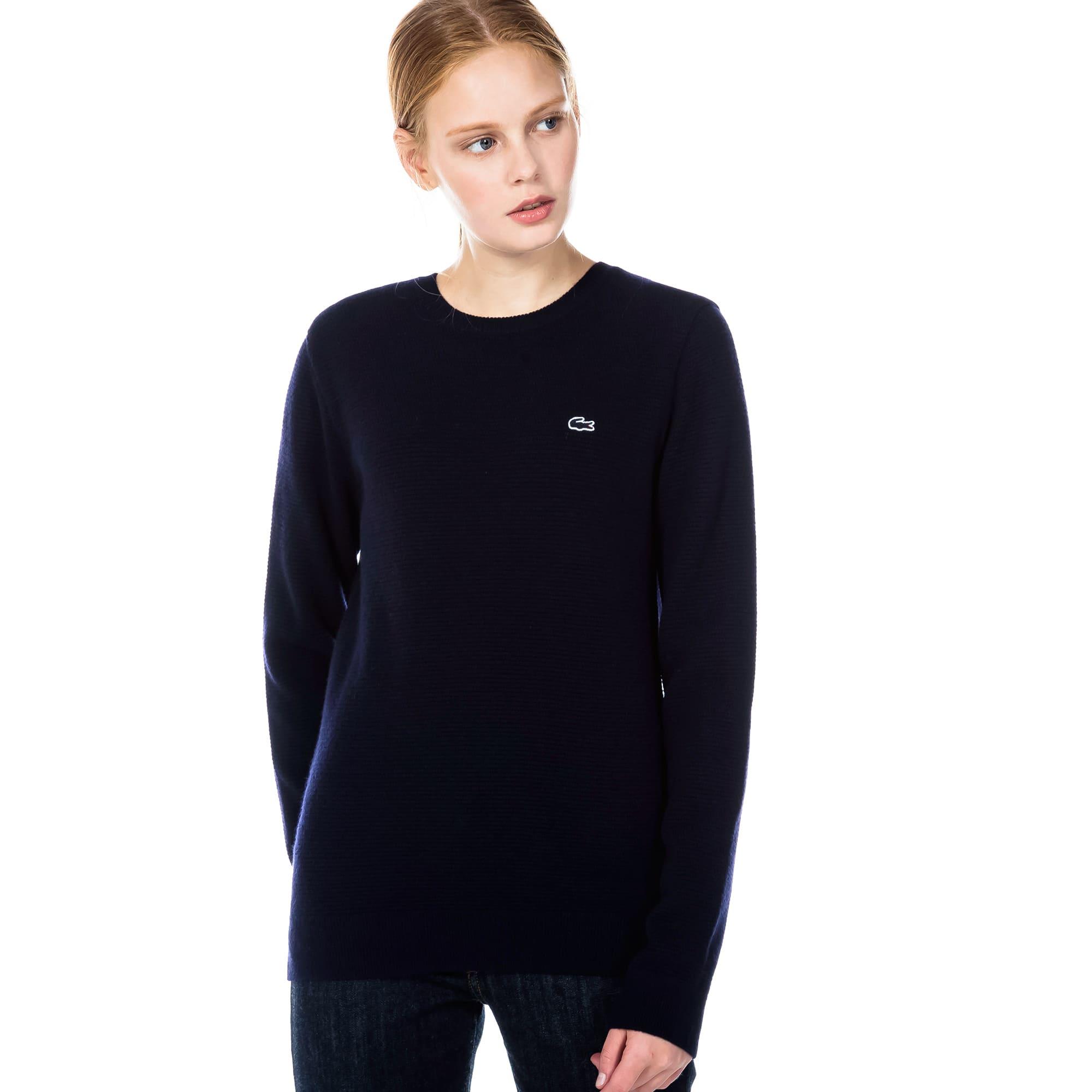 (여성) 가로 조직 라운드 스웨터