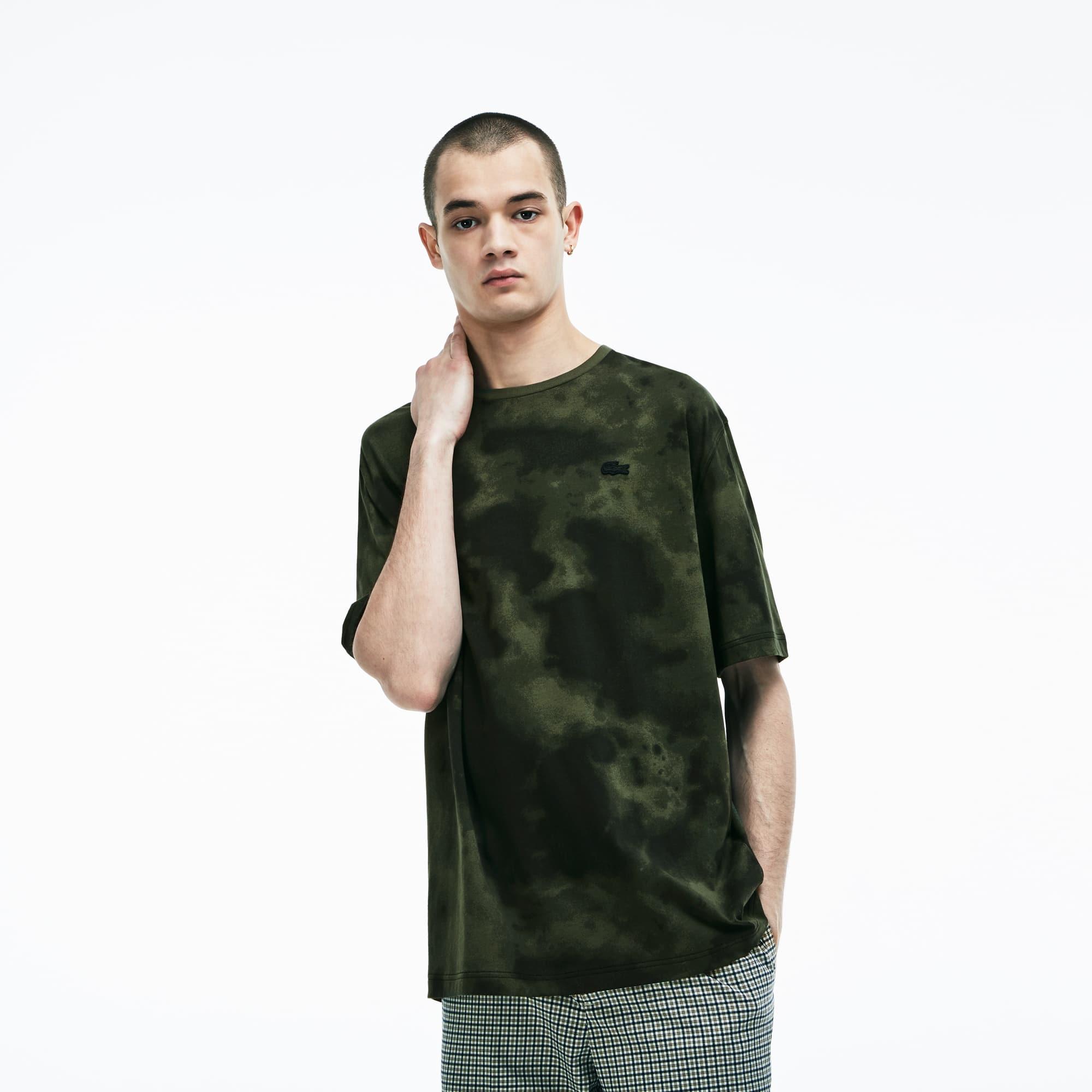(남성) 라코스테 라이브 크루넥 구름 프린팅 코튼 저지 티셔츠