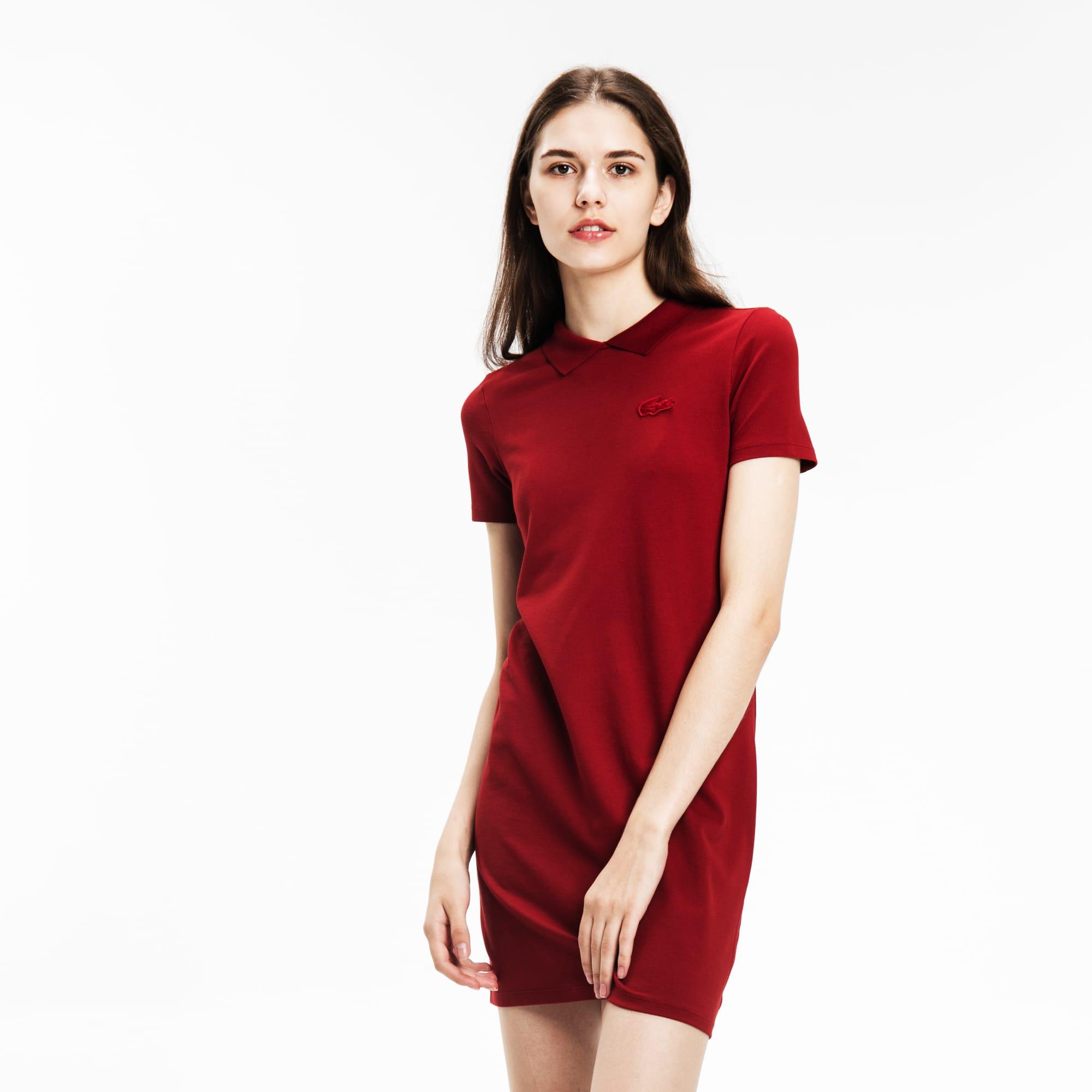 Lacoste LIVE系列女士背部开口设计弹性迷你凸纹网眼面料Polo裙