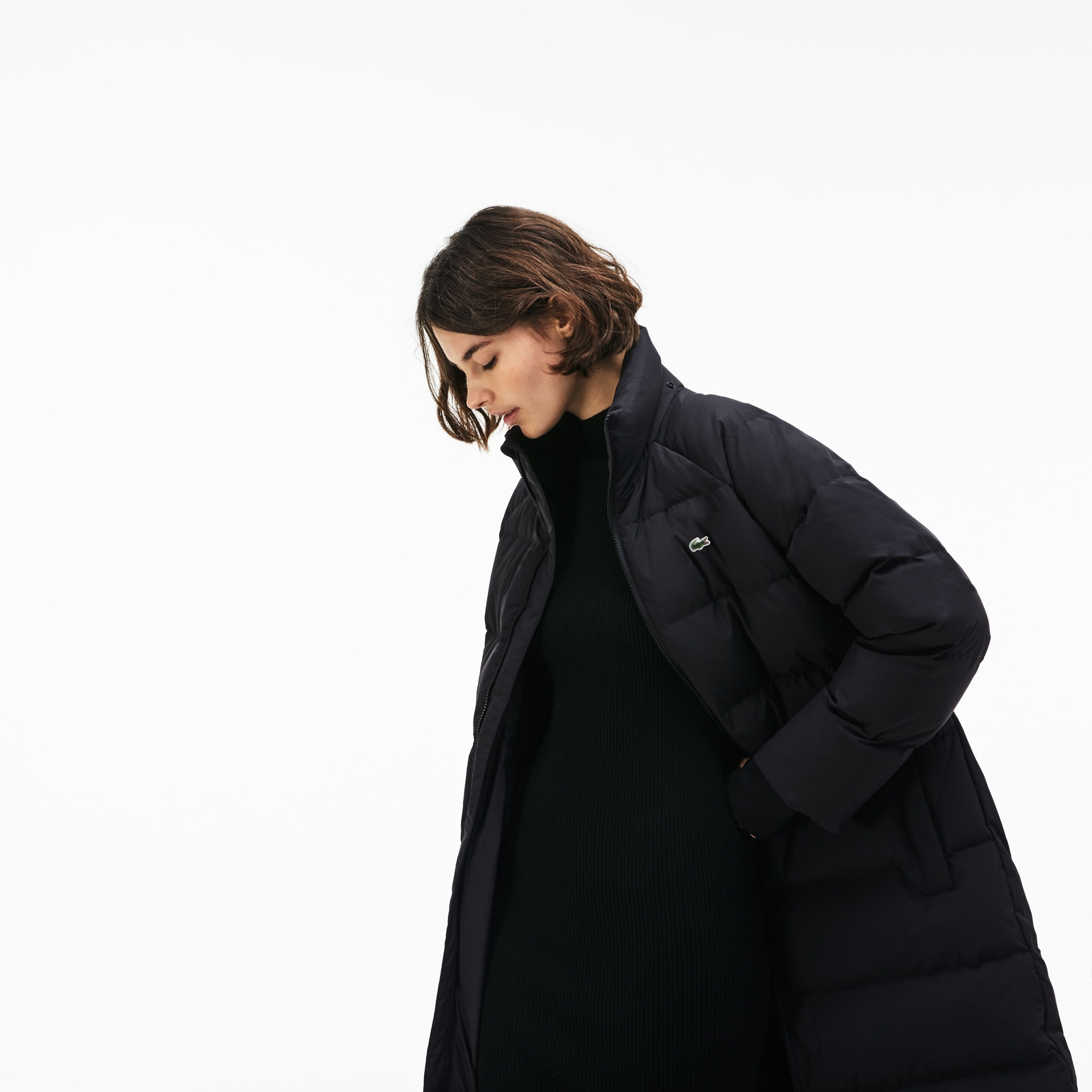 Lacoste LIVE女士长款防水塔夫绸绗缝夹克