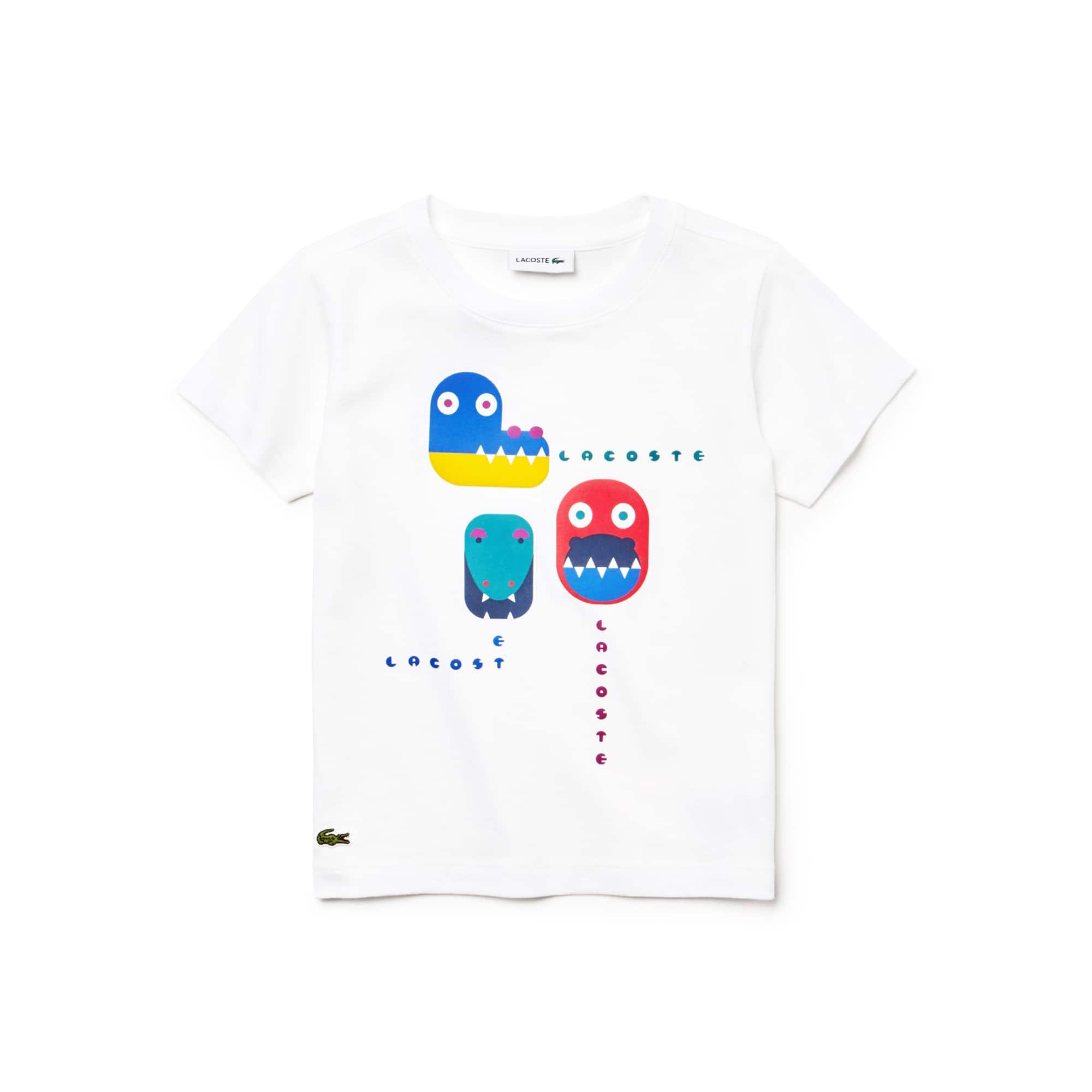 (키즈) 악어 프린팅 크루넥 코튼 저지 티셔츠