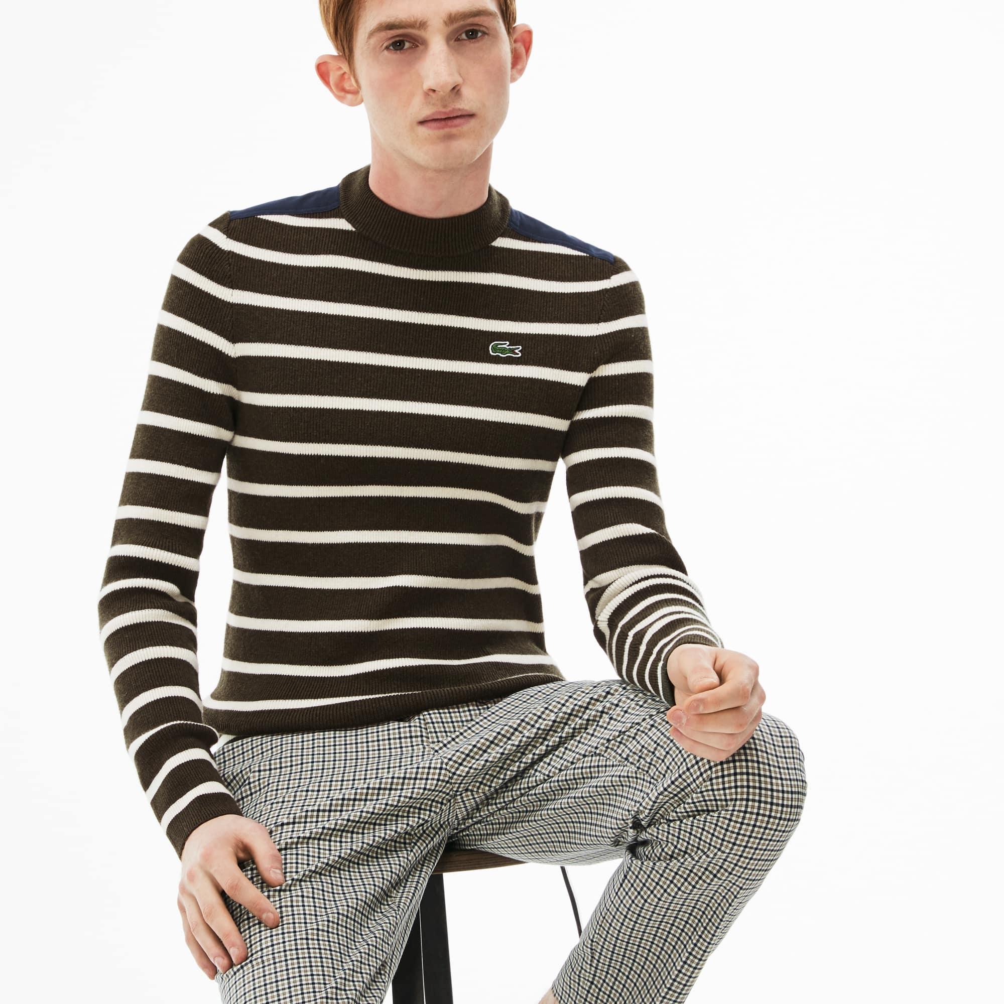男士Lacoste LIVE圆领条纹双罗纹针织毛衣
