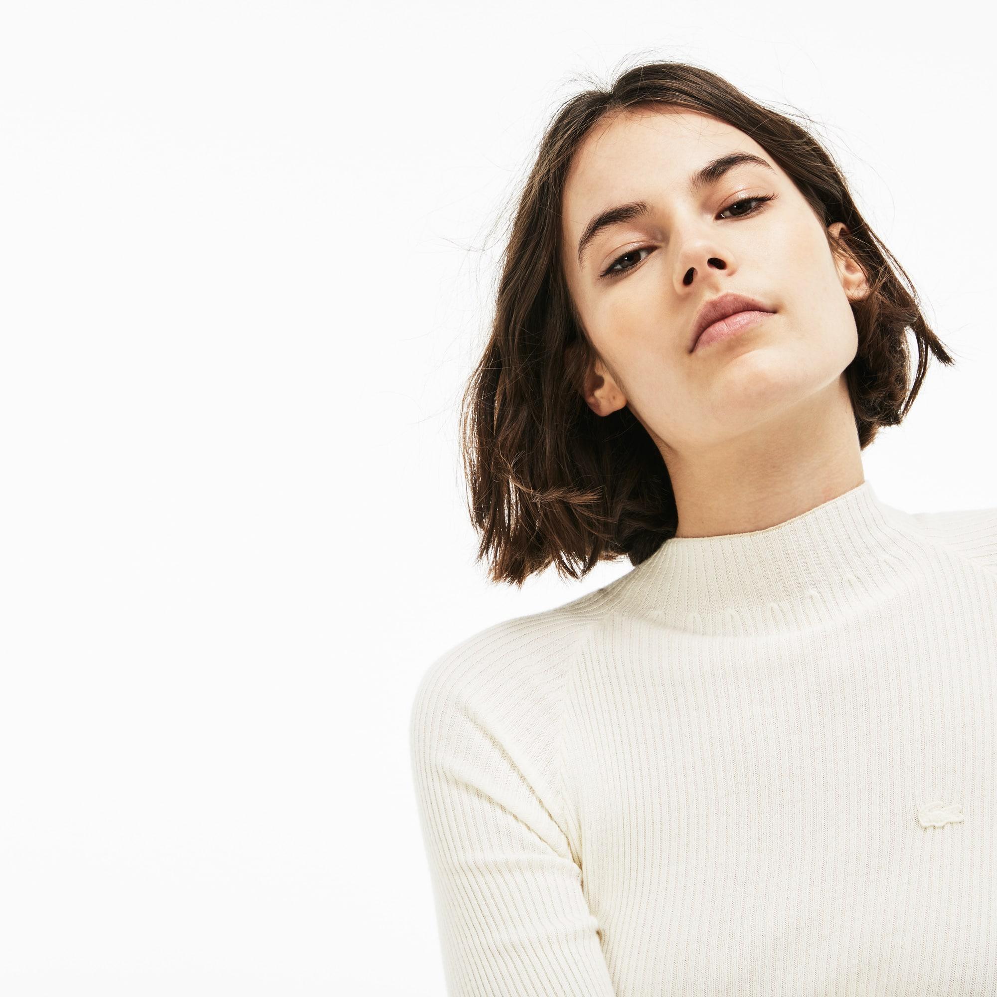 Lacoste LIVE系列棉和羊绒混纺女士罗纹毛衣
