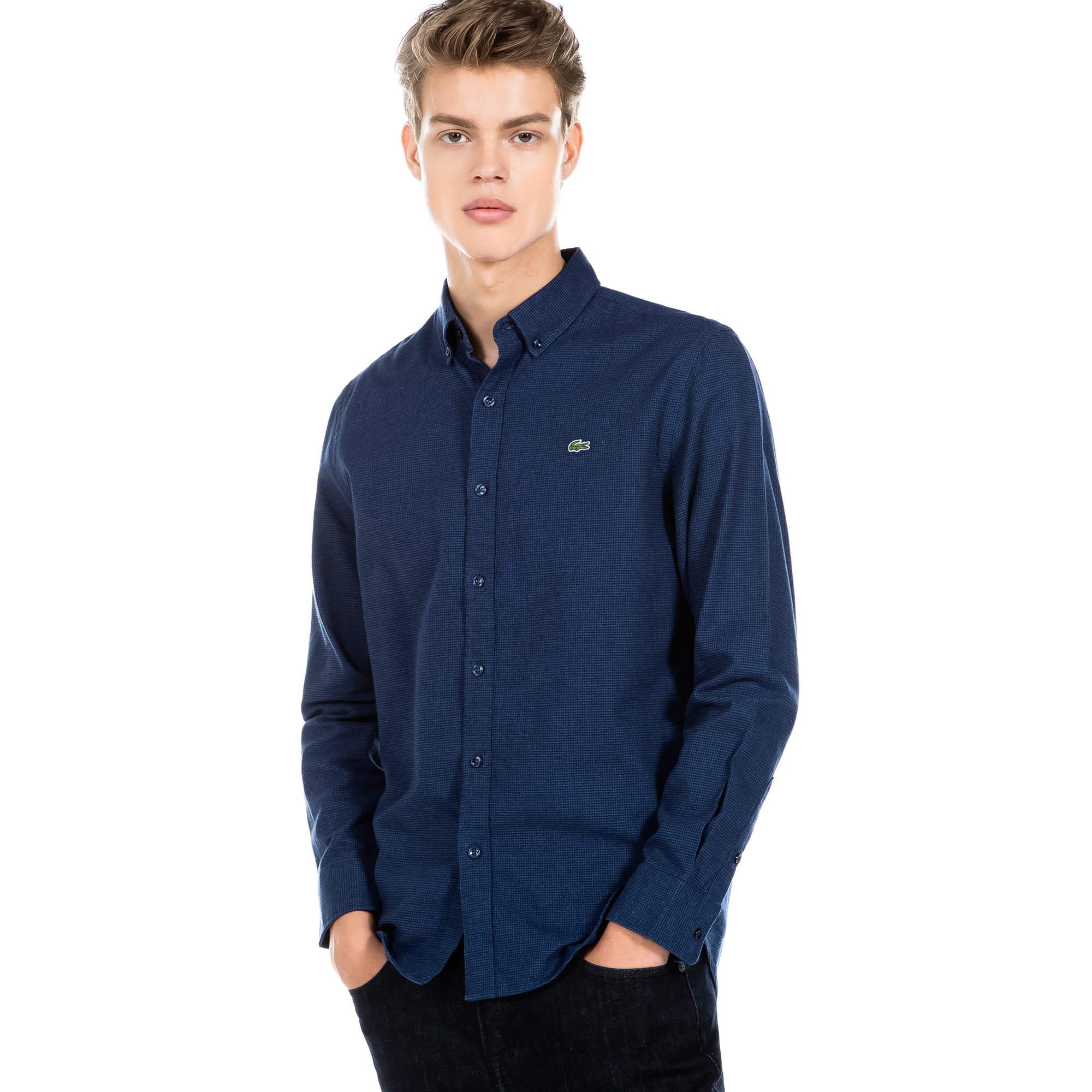 (남성) 라코스테 나노 하운드투스패턴 플라넬 슬림 셔츠