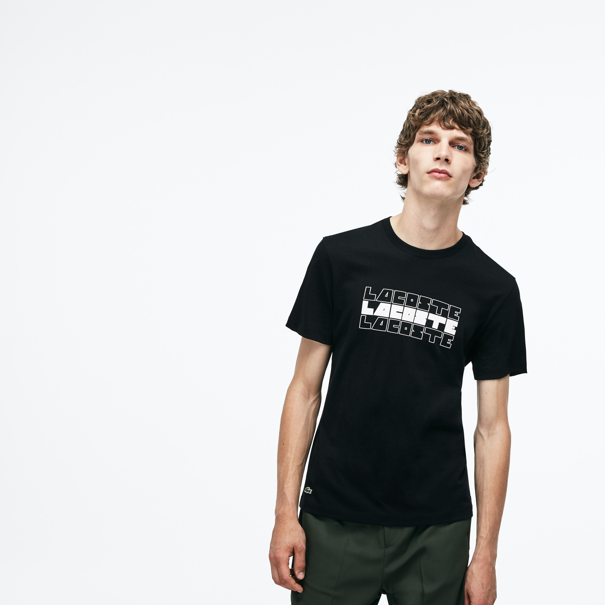 男士圆领Lacoste字样棉质平纹针织T恤
